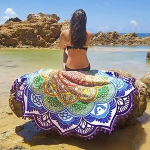 Rainbow Mandala Beach Blanket 🌈✨